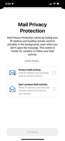 ios 15 Política Privacidad Email