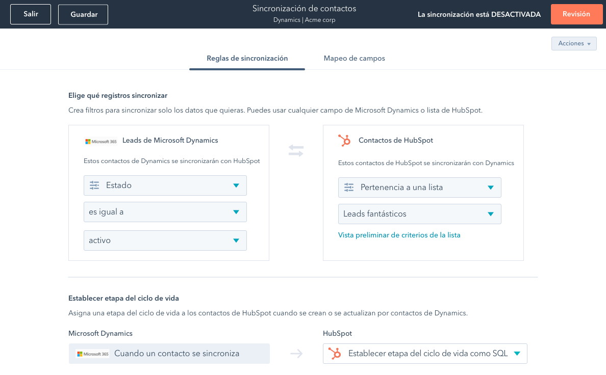 Operations Hub Sincronización Datos