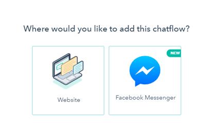 2 hubspot chatbot options for website facebook messenger