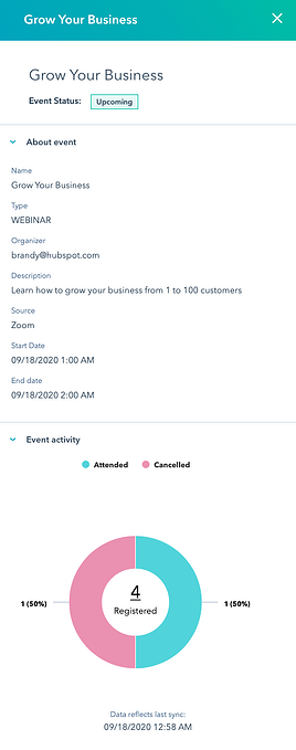 HubSpot marketing events beta panel