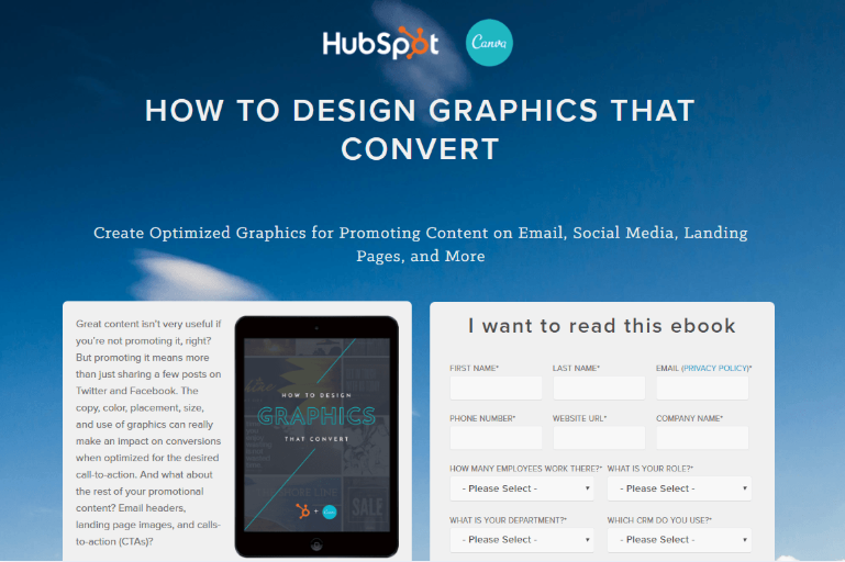 landing page examples hubspot and canva