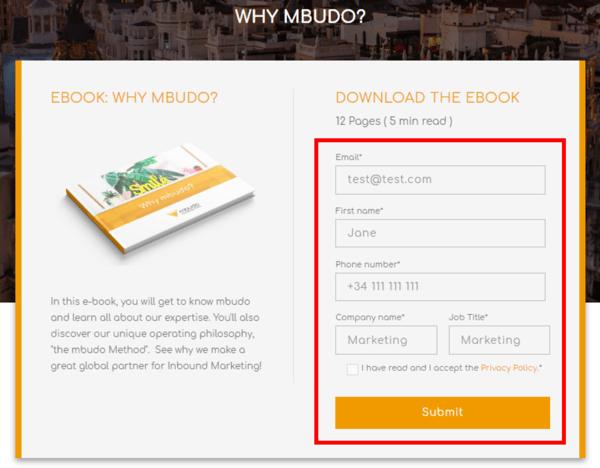 un formulario es importante en una Landing Page