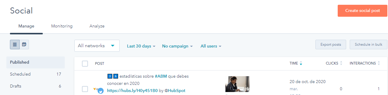 manage and posting tab