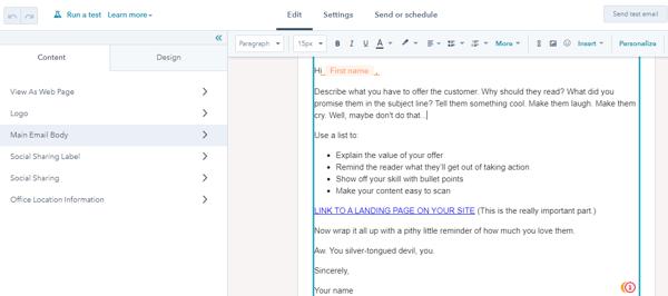 edit hubspot email